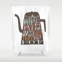 coffe Shower Curtains featuring COFFE & LOVE by Matthew Taylor Wilson