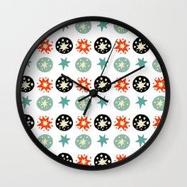 Abstract green black red hand painted stars polka dots Wall Clock