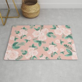 Watercolor Roses in Soft Pink Rug