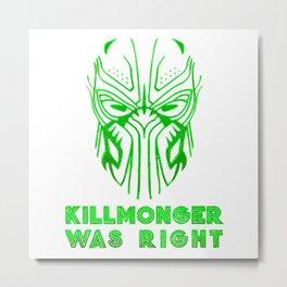 Killmonger Mask Metal Print