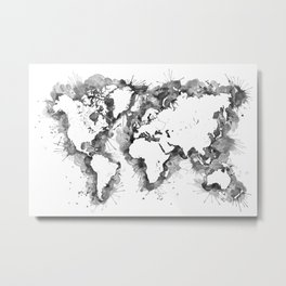 Watercolor splatters world map in grayscale Metal Print