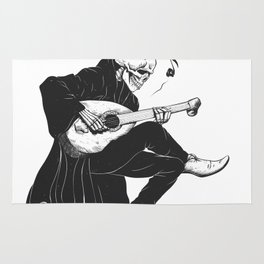 Minstrel playing guitar,grim reaper musician cartoon,gothic skull,medieval skeleton,death poet illus Rug