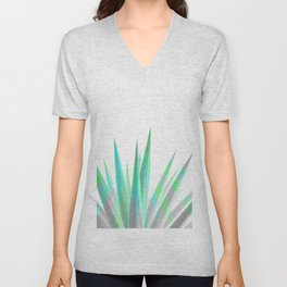 Tropical Allure - Green & Grey on White Unisex V-Neck