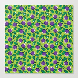 Blueberry pattern (on green background) Canvas Print
