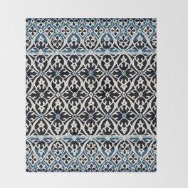 (N5) Vintage Anthropologie Moroccan Indigo Artwork. Throw Blanket