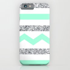 mint and glitter stripes iPhone 6 Slim Case