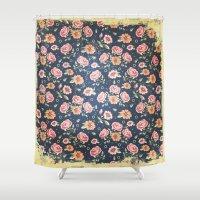vintage flowers Shower Curtains featuring Vintage flowers by MJ'designs - Marosée Créations