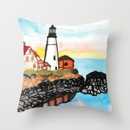 Watercolor Lighthouse Painting Throw Pillow