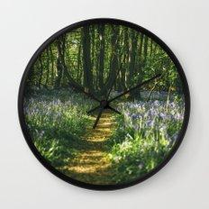 Path through wild Bluebells in ancient woodland. Wayland Wood, Norfolk, UK. Wall Clock