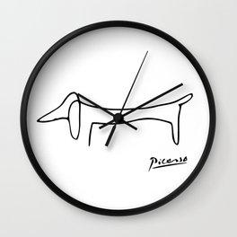 Picasso Line Art - Le Chien, Dog, Lump Wall Clock