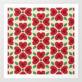 Christmas Heart Flowers Art Print