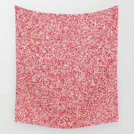 Spacey Melange - White and Fire Engine Red Wall Tapestry