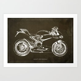 Motorcycle blueprint, Superbike 1299 Panigale, 2015,brown background, gift for men, classic bike Art Print