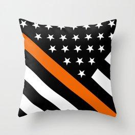 Search & Rescue: Black Flag & Thin Orange Throw Pillow
