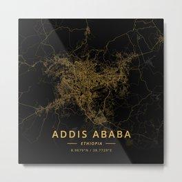 Addis Ababa, Ethiopia - Gold Metal Print
