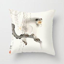 Monkey on tree branch - Vintage Japanese Woodblock Print Art Throw Pillow