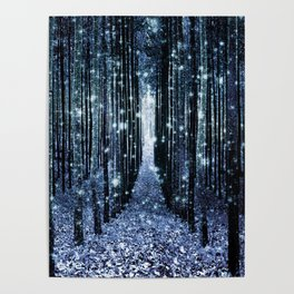 Magical Forest Teal Indigo Elegance Poster