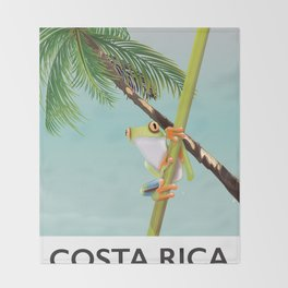 Costa Rica Tree Frog travel poster. Throw Blanket
