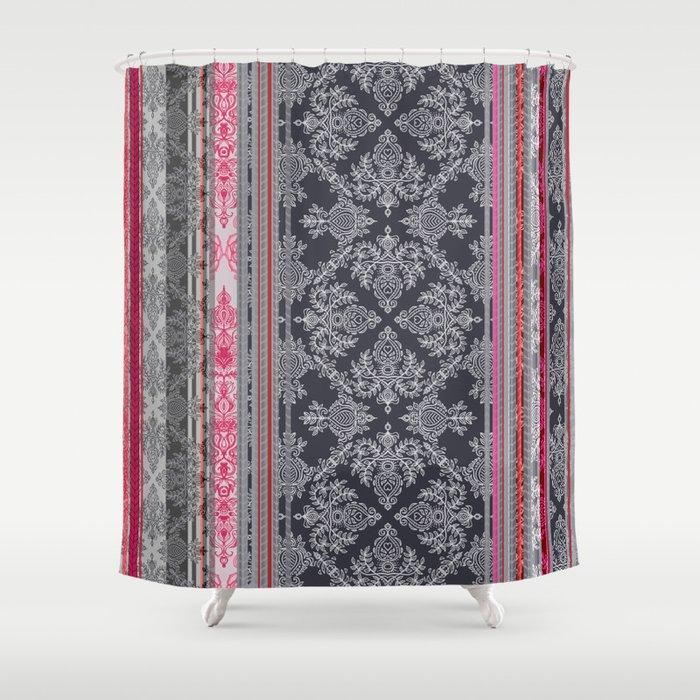 Burgundy Pink Navy Grey Vintage Bohemian Wallpaper Shower Curtain