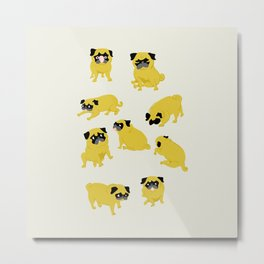 Good Vibes With Nasty The Pug Metal Print