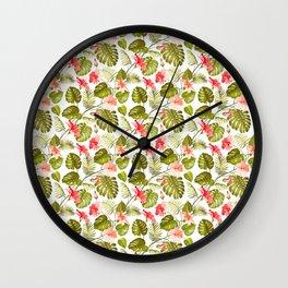 Tropical blush pink green modern vector floral pattern Wall Clock