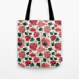 Rustic white wood red green tropical floral illustration Tote Bag