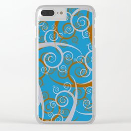 Blue Swirl Pattern Clear iPhone Case