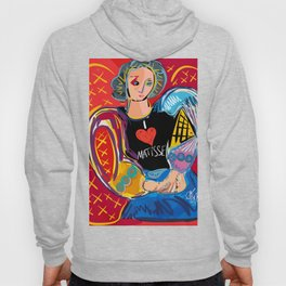 """Portrait of a girl with a shirt """"I Love Matisse"""" Hoody"""