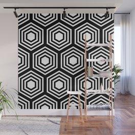 Monochrome Hex Wall Mural