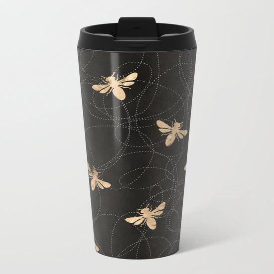Busy Bees (Black) Metal Travel Mug