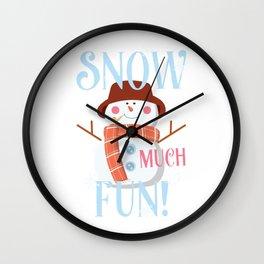 Snow Much Fun Snowman Christmas Snowflakes Wall Clock