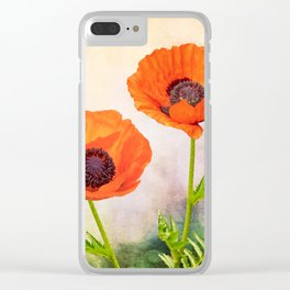 Two beautiful poppies with textures Clear iPhone Case