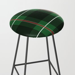 Green, Black and Red Striped Plaid Bar Stool