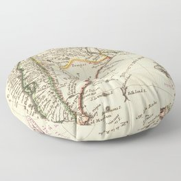 Vintage Map of Chile and Argentina (1732) Floor Pillow