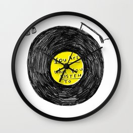you are what you listen to, YELLOW Wall Clock