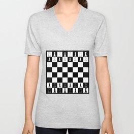Chess Board Layout Unisex V-Neck