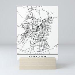 SANTIAGO DE CHILE BLACK CITY STREET MAP ART Mini Art Print