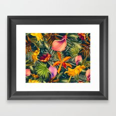 Tropical flowers and leaves pattern Framed Art Print