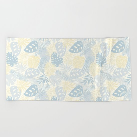 Tropical Leaves Pattern Yellow And Grey Beach Towel