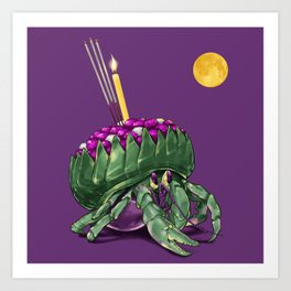 Krathong Crab // Full Moon Hermit Crab Art Print