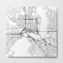 Indianapolis Map, USA - Black and White Metal Print