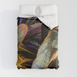 Fine Art Feathers In Autumn Dark Greens & Gold Close-Up Comforters