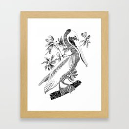 Pelican With Flowers Framed Art Print