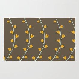 Heart Shaped Leaves on Curvy Vines Rug