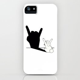 Rabbit Rock and Roll Hand Shadow iPhone Case