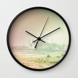 Colors of Dreamy Taj Mahal in the Morning Mist Behind the Yamuna River Wall Clock