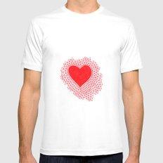 red geometric heart MEDIUM Mens Fitted Tee White