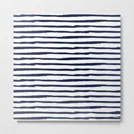 Navy Blue Stripes on White Metal Print