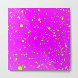 Neon Yellow Spray Splatters on Fuchsia Surface Metal Print