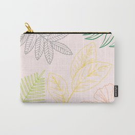 Minimalistic leaves on pale pink background Carry-All Pouch